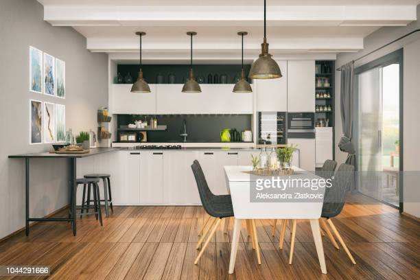 modern kitchen with dining area - dining room stock pictures, royalty-free photos & images