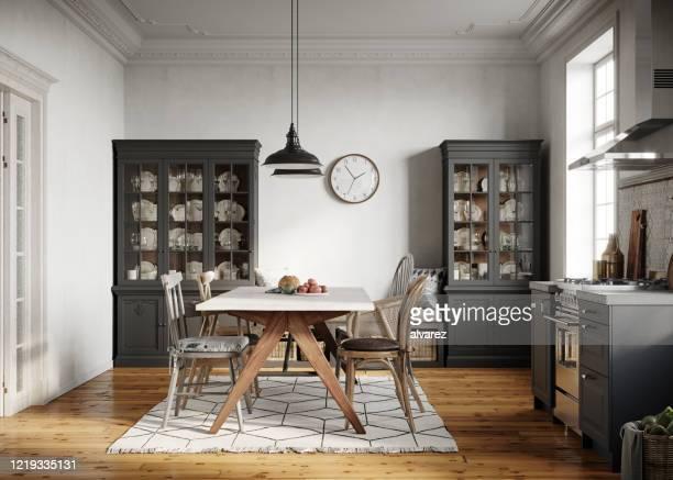 moderne küche mit esszimmer - privatküche stock-fotos und bilder