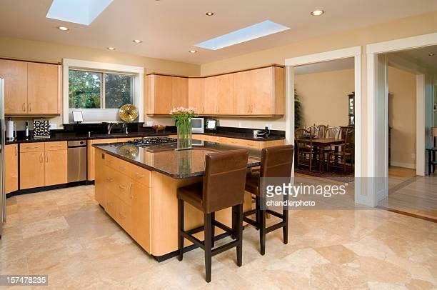 Modern kitchen with stone floors
