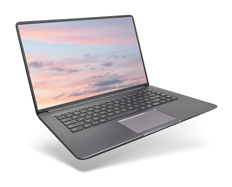 Modern laptop on white background 1140541722