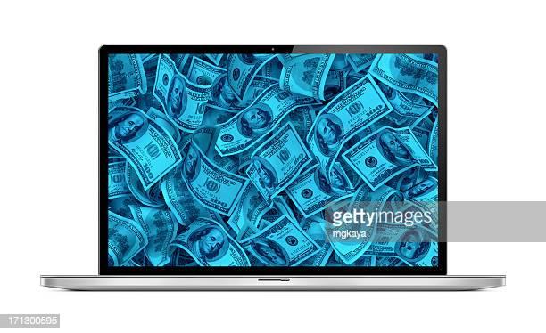 Modern Laptop with Money