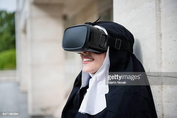 Modern life - nun and virtual reality