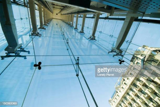 modern lift shaft added to the historic building of the centro de arte reina sofia. - arte stock photos and pictures
