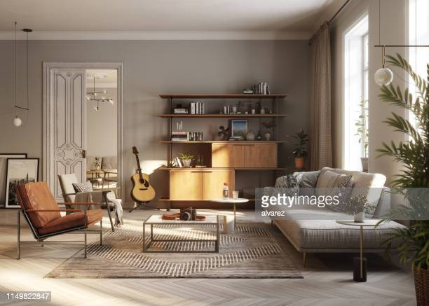 modern living room 3d rendering - comfortable stock pictures, royalty-free photos & images