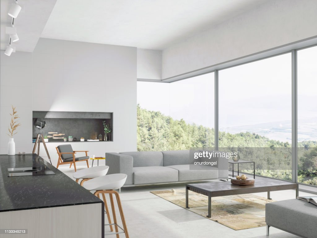 Modern living room and kitchen interior with nature view : Stock Photo