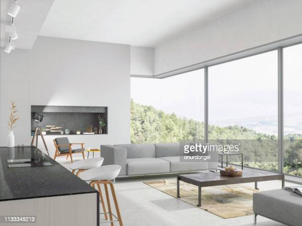 modern living room and kitchen interior with nature view - indoors stock pictures, royalty-free photos & images