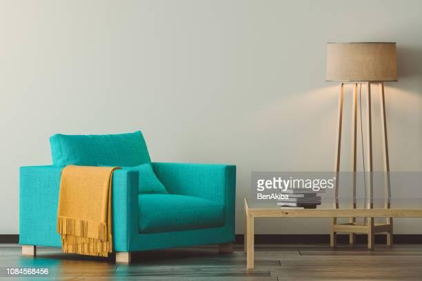 moderne woonkamer detail - armstoel stockfoto's en -beelden