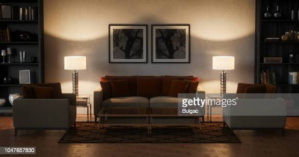 modern living room - evening (17:9) - electric lamp stock pictures, royalty-free photos & images