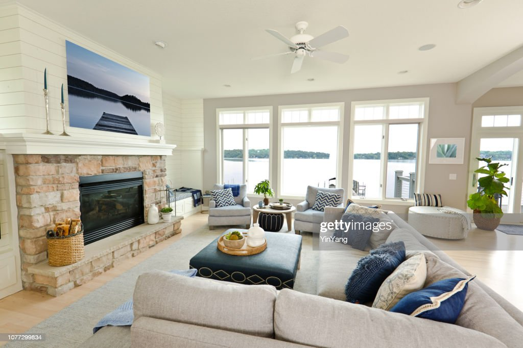 Modern Living Room Home Interior Design With Fireplace And
