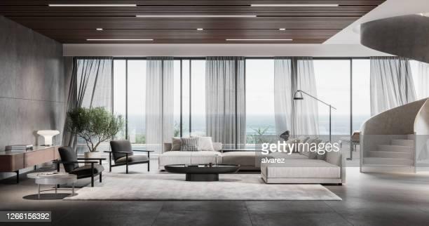 modernes wohnzimmer in 3d - luxus stock-fotos und bilder