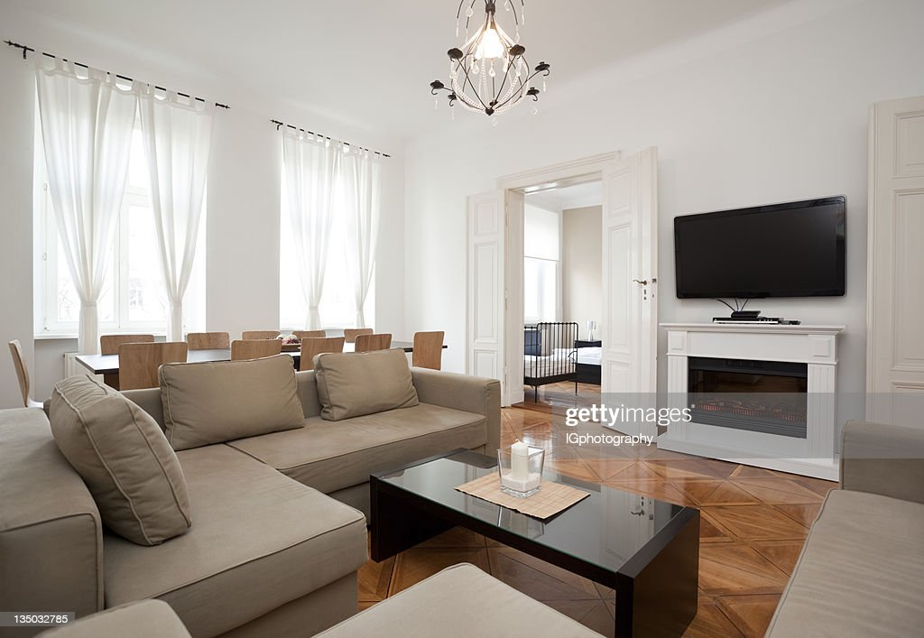 Modern Living Room In Contemporary Style Apartment Stock Photo