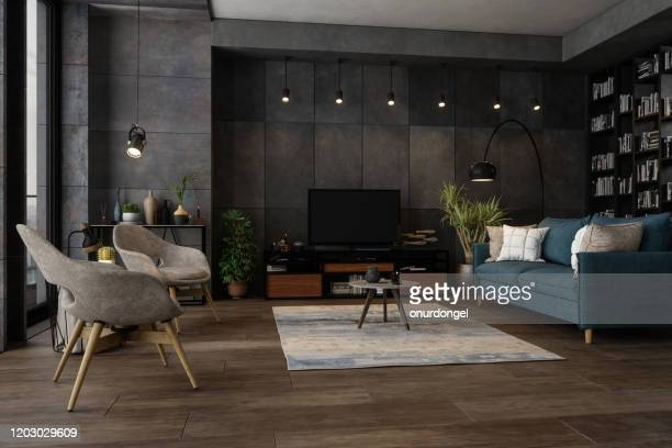 modern living room in the evening - living room stock pictures, royalty-free photos & images