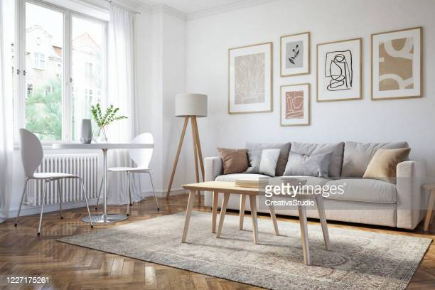 modern living room interior - 3d render - scandinavia stock pictures, royalty-free photos & images