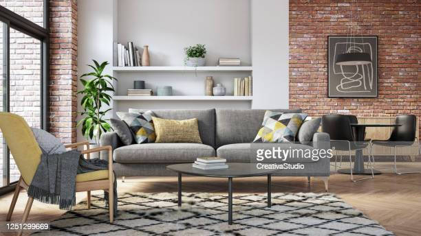modern living room interior - 3d render - grey colour stock pictures, royalty-free photos & images