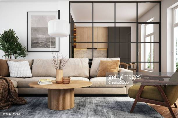 modern living room interior - 3d render - indoors stock pictures, royalty-free photos & images