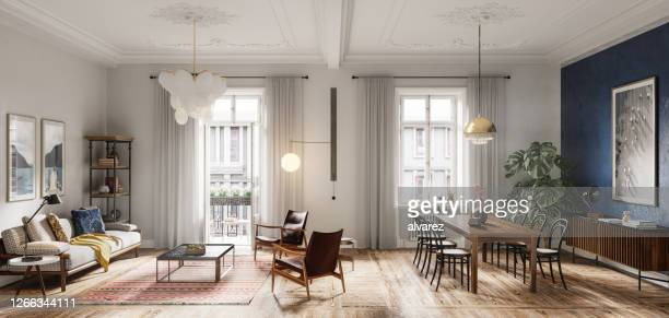 modern living room interior design in 3d - panoramic stock pictures, royalty-free photos & images
