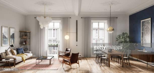 design intérieur moderne de salon en 3d - appartement photos et images de collection