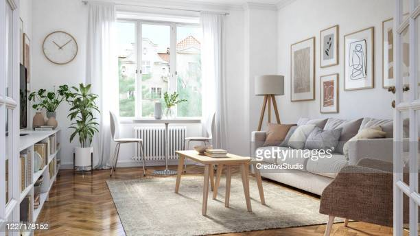 modern living room interior - nordic countries stock pictures, royalty-free photos & images