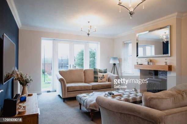 modern living room interior - indoors stock pictures, royalty-free photos & images
