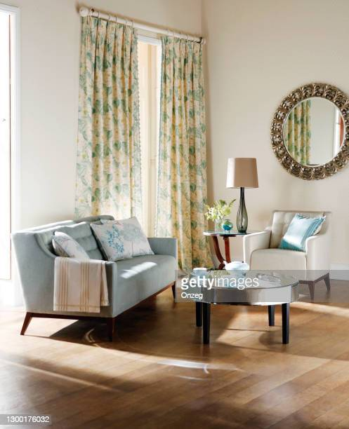 modern living room interior - floral pattern stock pictures, royalty-free photos & images