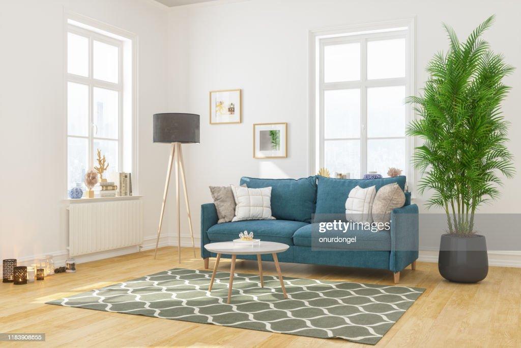 Interior moderno da sala de visitas com sofá confortável : Foto de stock