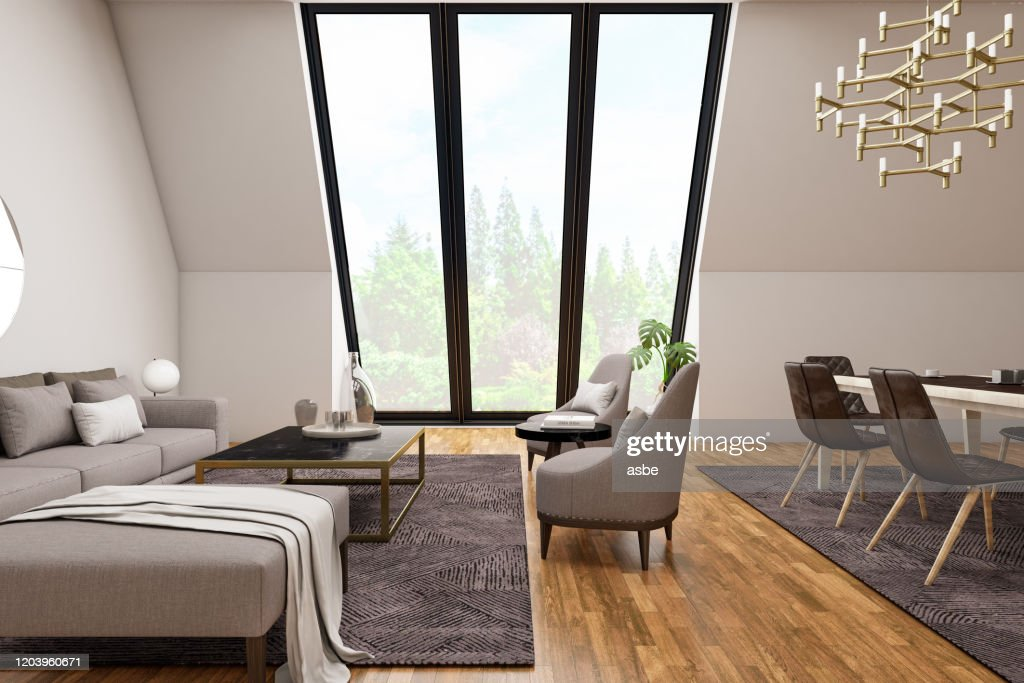 Modern Living Room Interior With Dining Table And Big Windows High Res Stock Photo Getty Images