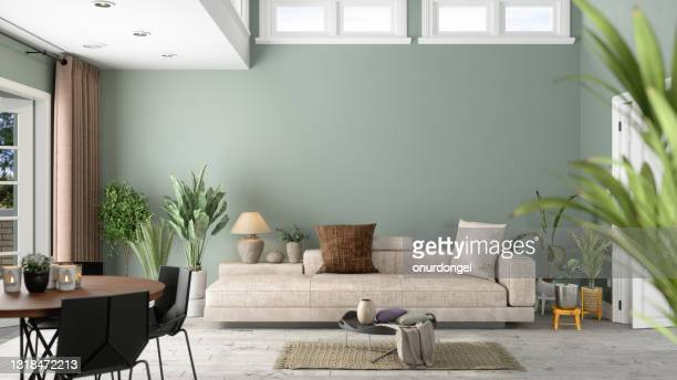 modern living room interior with green plants, sofa and green wall background - tidy room stock pictures, royalty-free photos & images