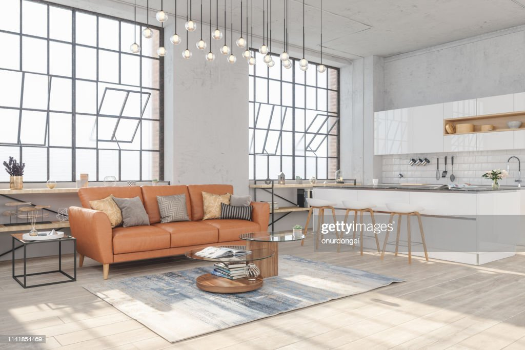 Modern Living Room Interior With Hardwood Floors And View Of Kitchen In New Luxury Home High Res Stock Photo Getty Images