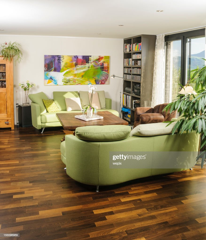 Modern Living Room Parquet Couch Table Painting Bookshelf Stock Photo