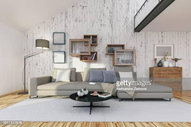 sala de estar moderna  - forro de madeira - fotografias e filmes do acervo