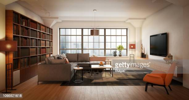 modern living room - wide stock pictures, royalty-free photos & images