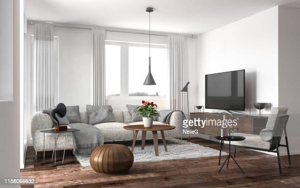 modern living room - living room stock pictures, royalty-free photos & images