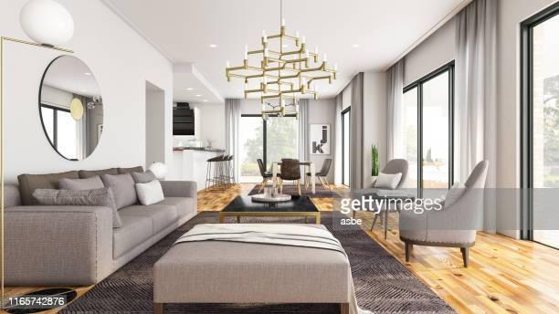 sala de estar moderna - luxury fotografías e imágenes de stock
