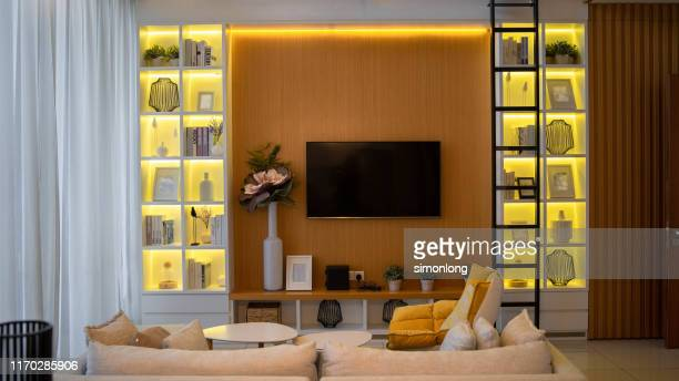 modern living room - art deco furniture stock pictures, royalty-free photos & images