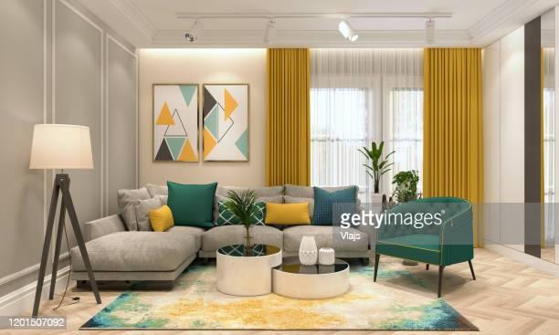 soggiorno moderno - giallo foto e immagini stock