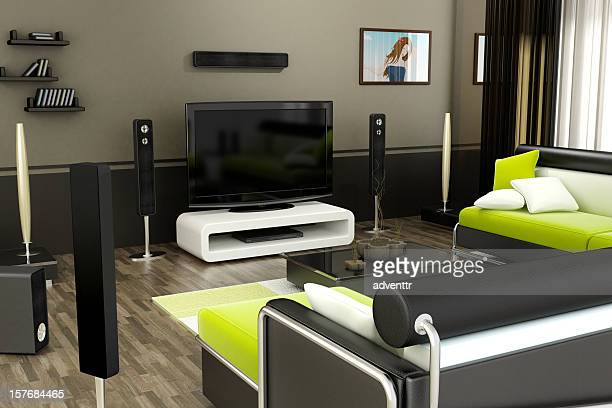 modern living room - entertainment center stock pictures, royalty-free photos & images