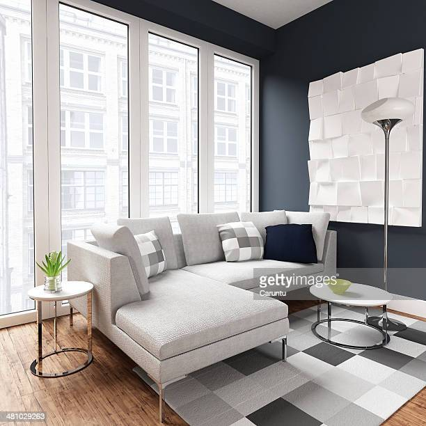 modern living room - chaise longue stock photos and pictures