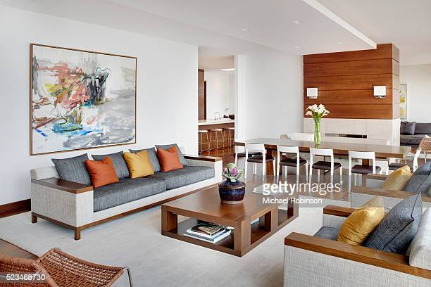 modern living room - home showcase interior stock pictures, royalty-free photos & images