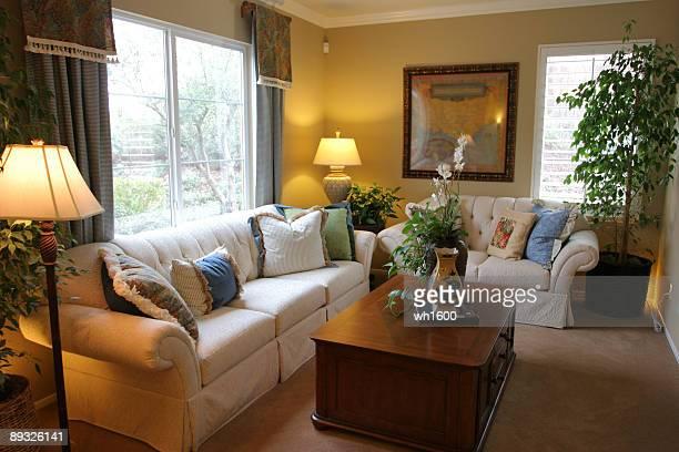 modern living room - crown molding stockfoto's en -beelden