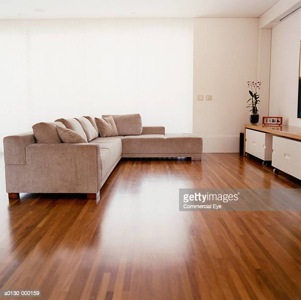 modern living room - wooden floor stock pictures, royalty-free photos & images