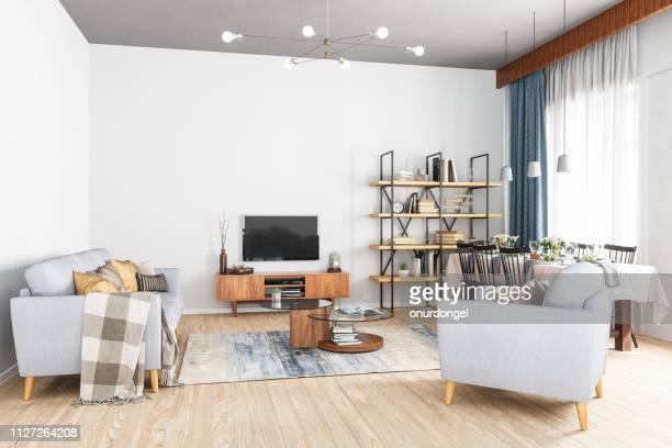modern living room, smart tv and dining room - wide stock pictures, royalty-free photos & images