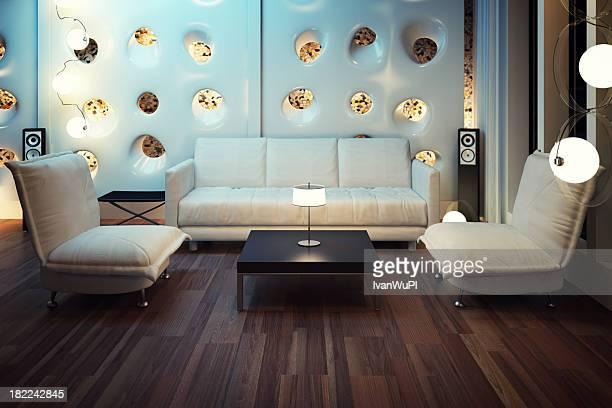 Modern living room with 3D render