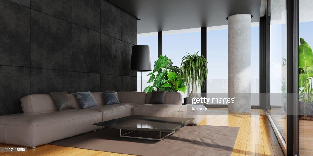 Modern living room with big panoramic windows and bamboo floor : Stock Photo