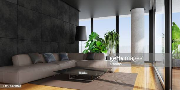 modern living room with big panoramic windows and bamboo floor - wide shot stock pictures, royalty-free photos & images