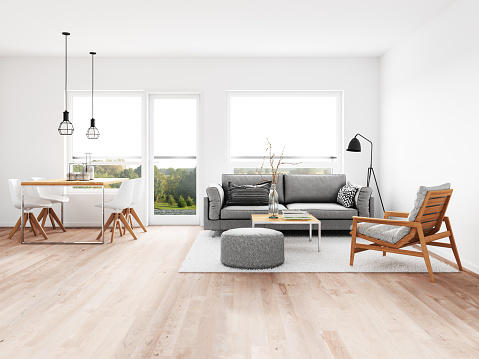 Modern living room with dining room 1089808216