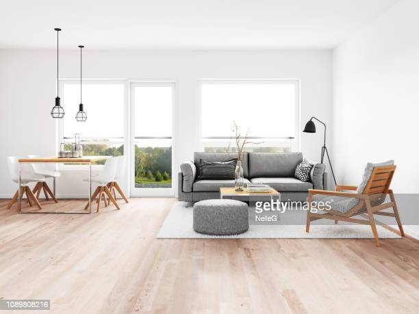 modern living room with dining room - moderno foto e immagini stock