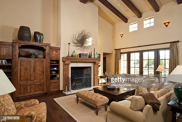 modern living room with furnishing - beige stock pictures, royalty-free photos & images