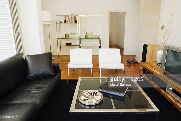 Modern living room with leather sofa and television