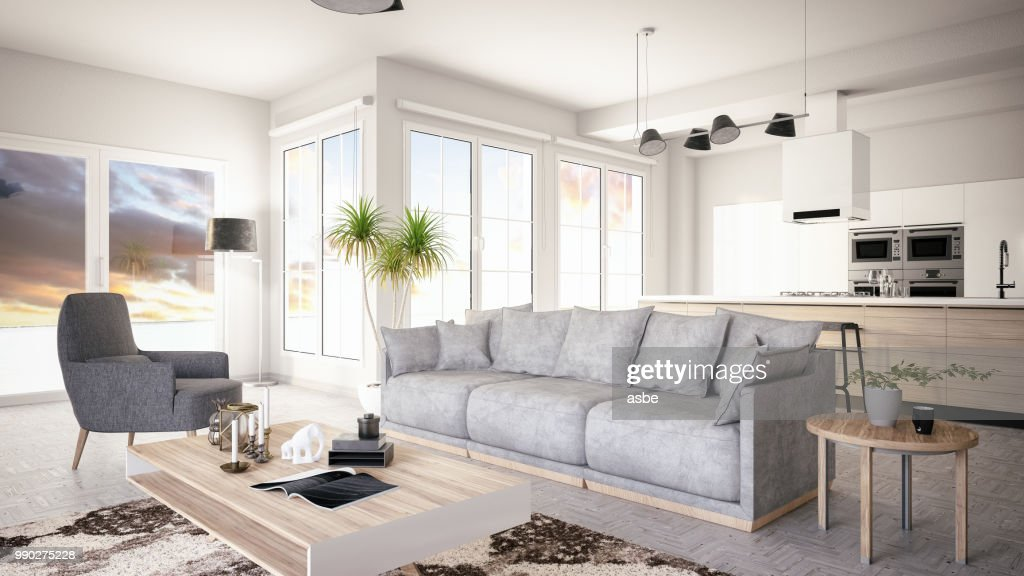 Modern Living Room With Open Kitchen Stock Photo   Getty Images