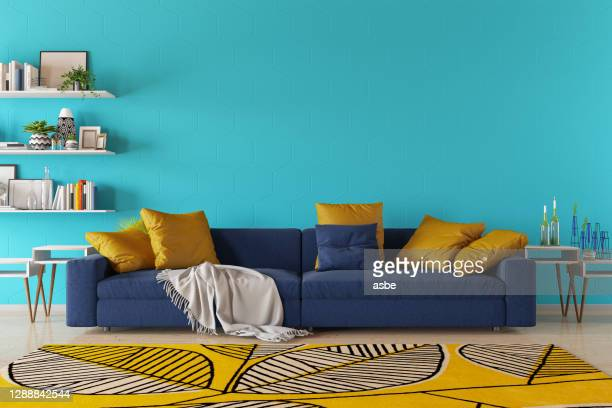 modern living room with sofa and book shelf - living room stock pictures, royalty-free photos & images